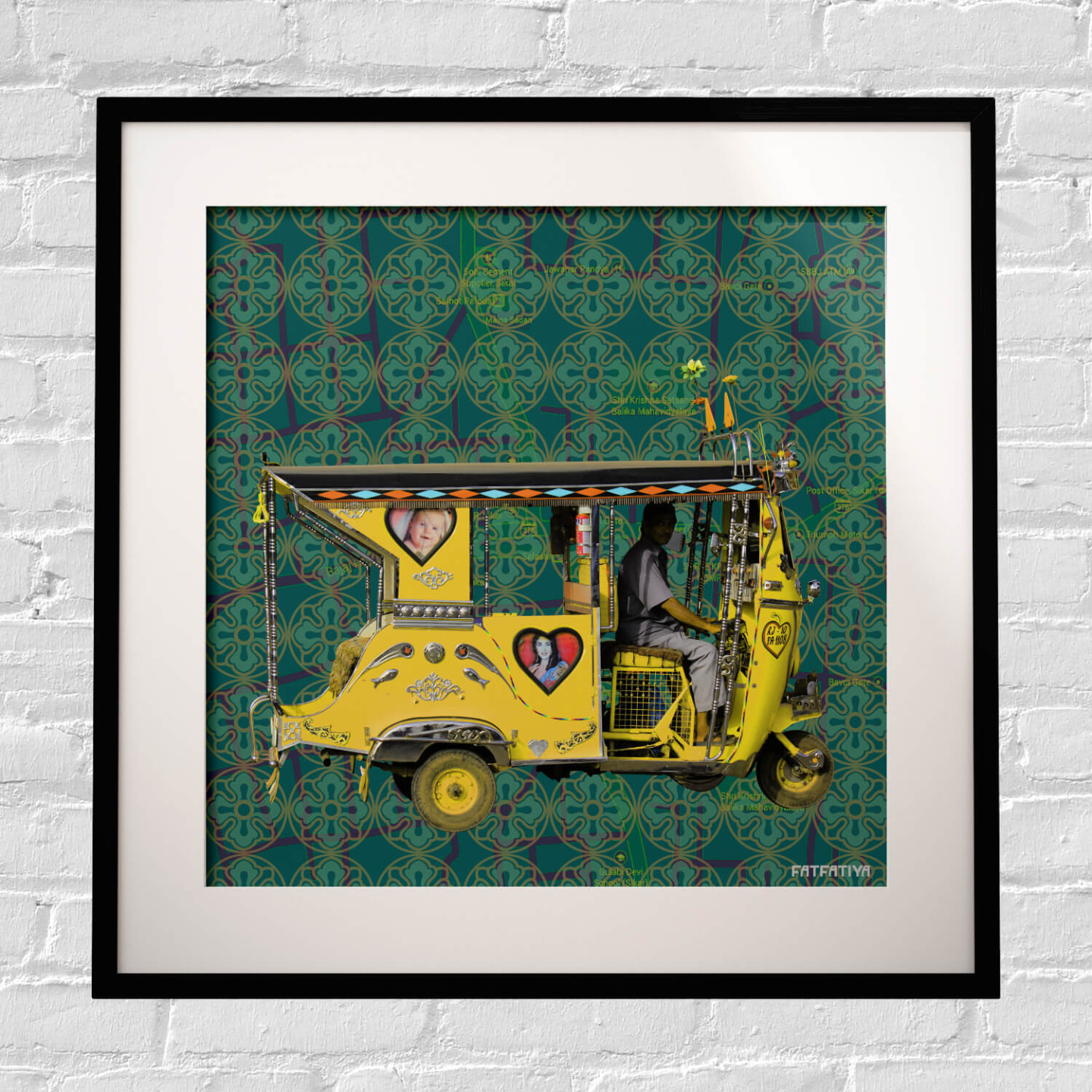 Yellow Auto Rickshaw Framed Art Print