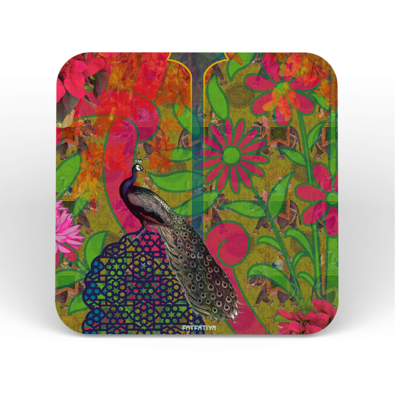 Multicoloured Peacock Themed Table Coaster Set of Six