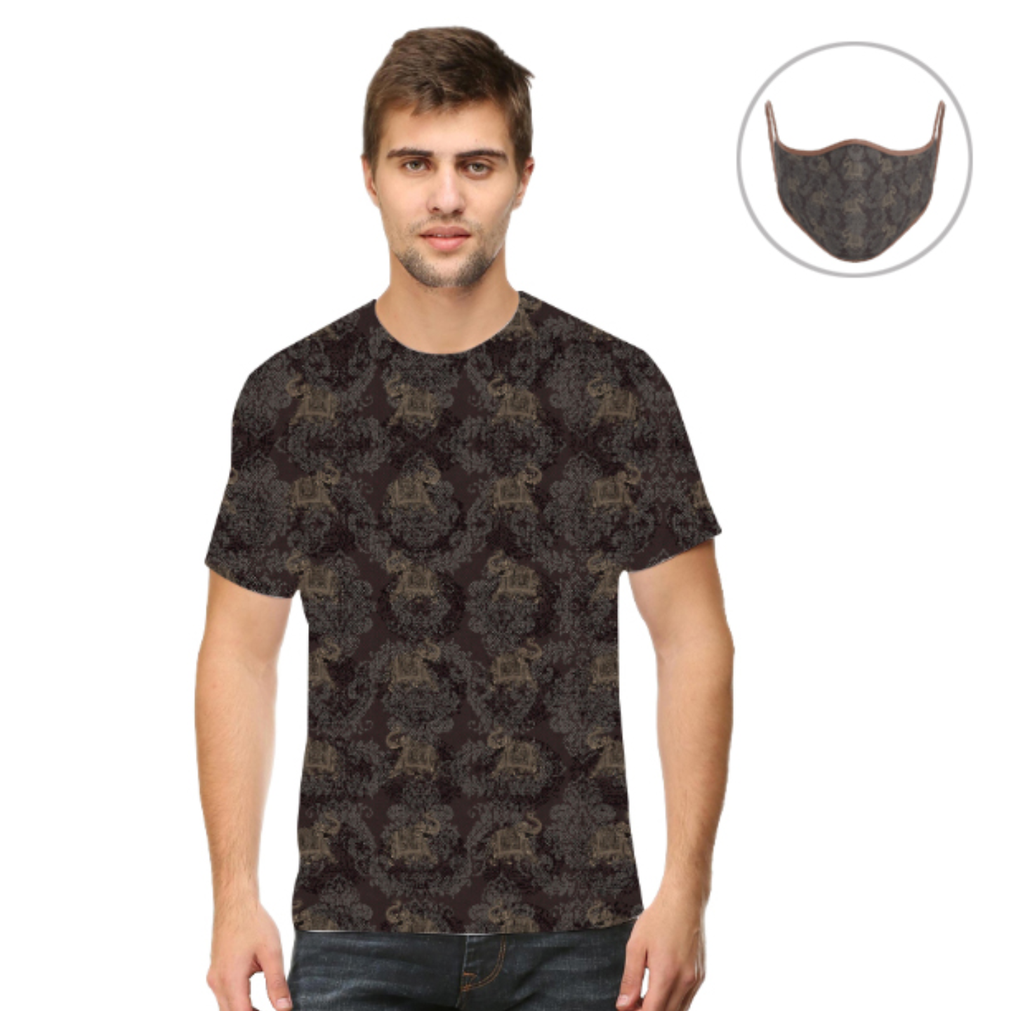 Men Grey Elephant T-Shirt Mask Combo