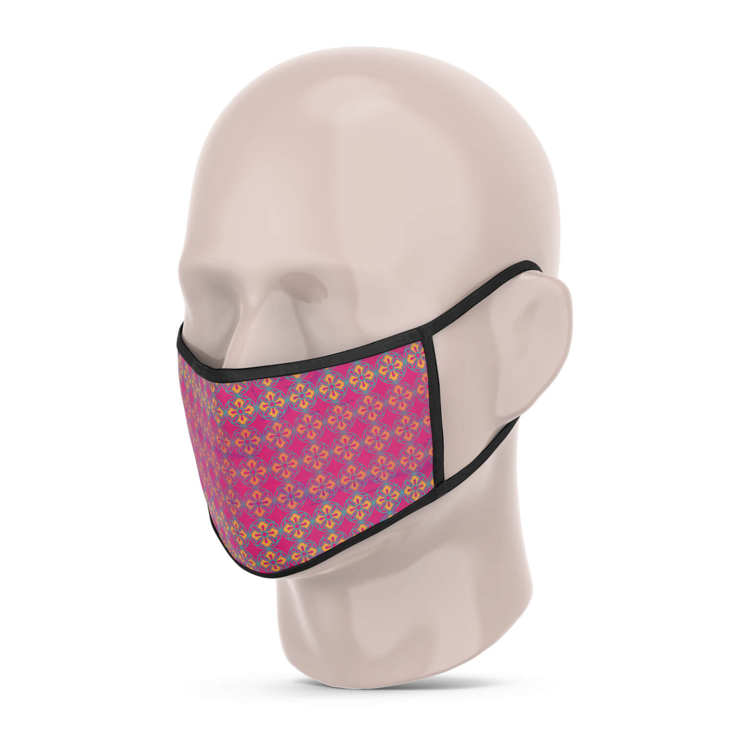 3 Layer Printed Protective Face Mask - Pack of 3 Pink-Dark Brown-Brown