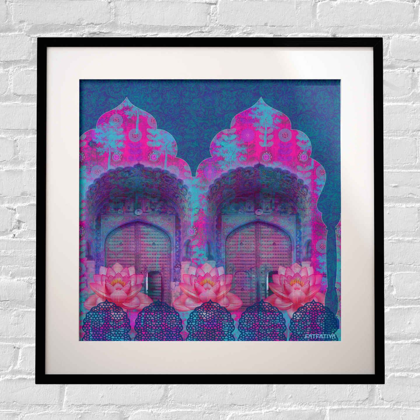 Cool Blue Rajasthani Framed Art Print