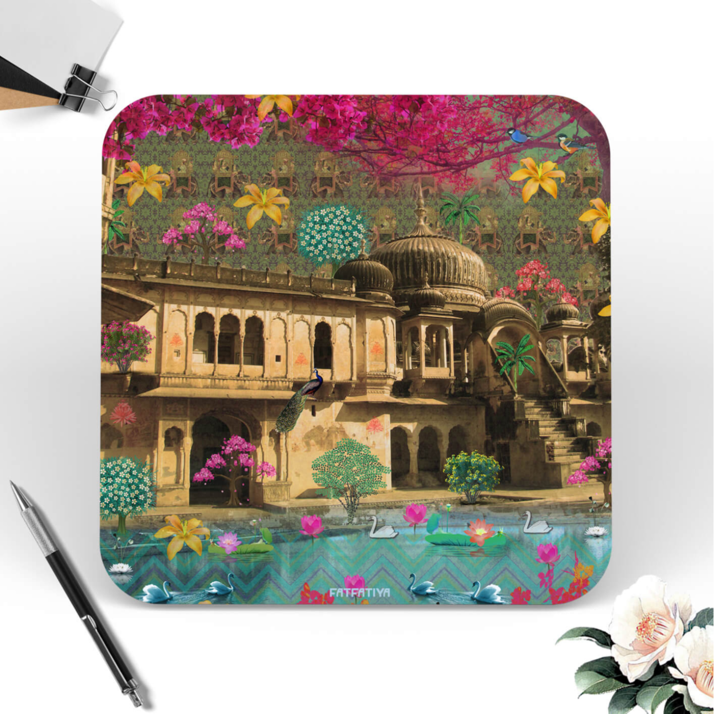 Multicolored Flower and Dome Table Coaster Set of Six