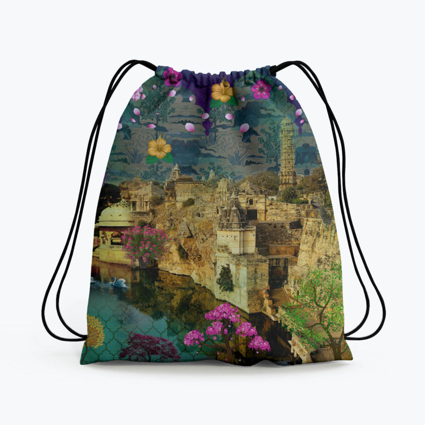Fort in a Lake Drawstring Bag