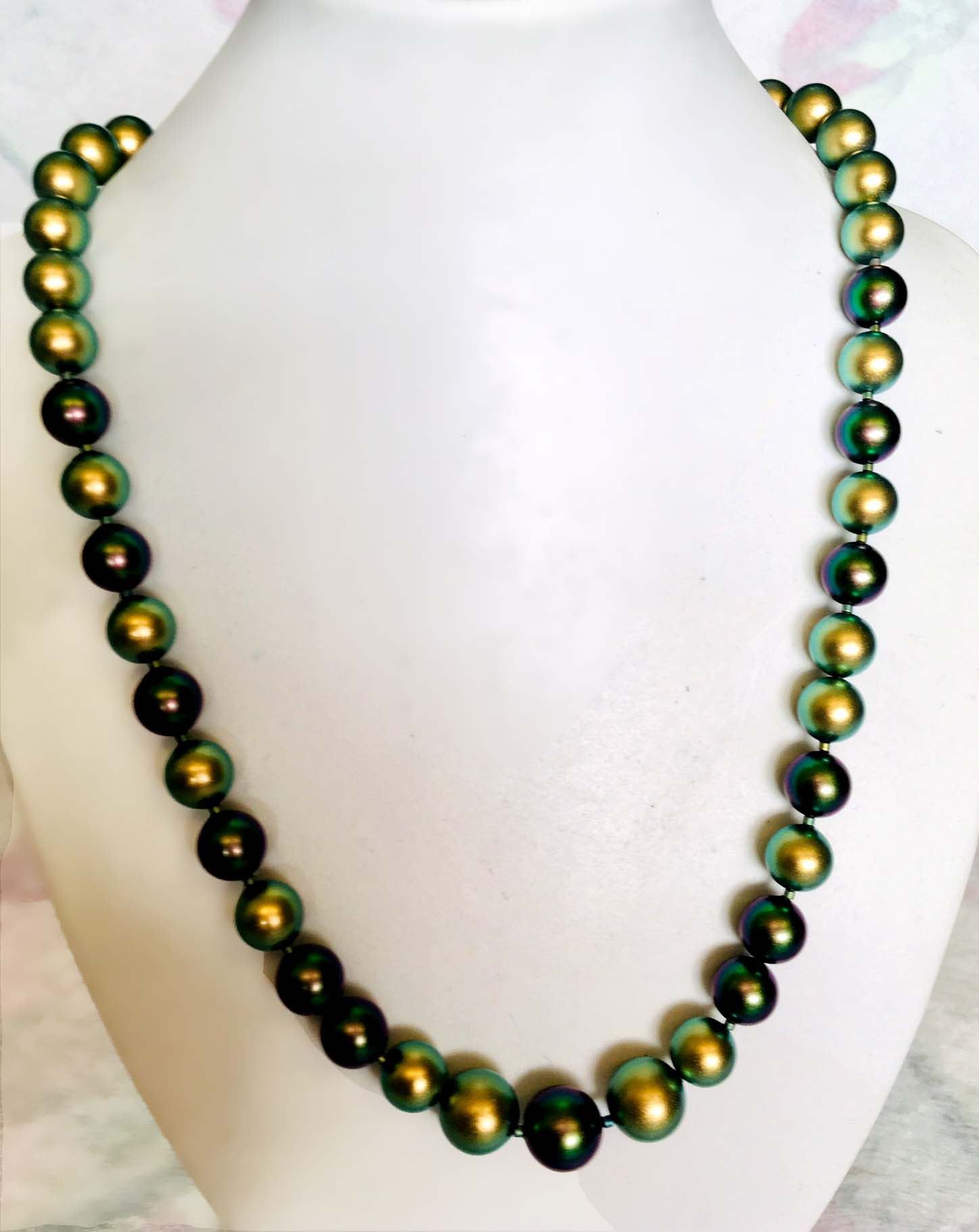 (SOLD)  Glowing Green Goddess: Swarovski pearls
