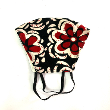 Mask - Batik & red floral print