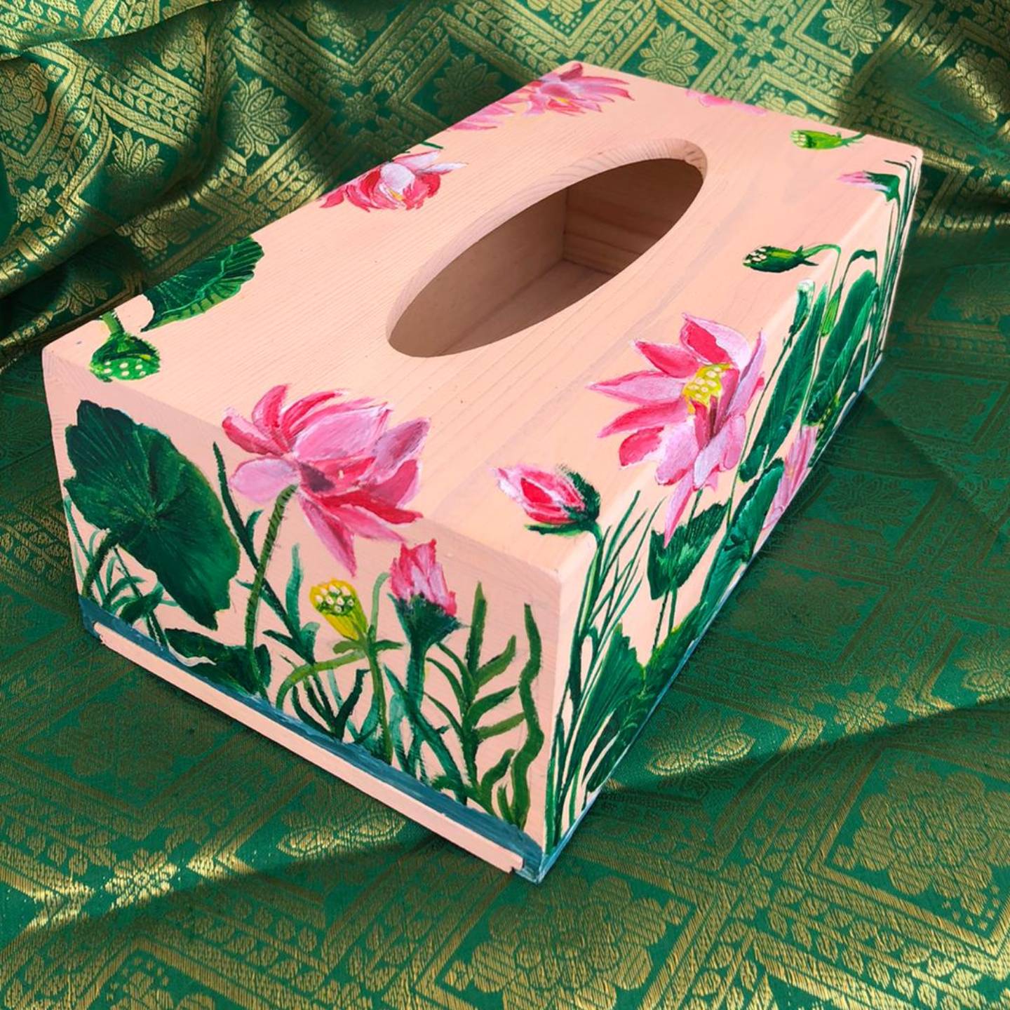 Light Pink Tissue Box with Lotus flowers