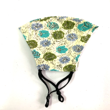 Mask - Teal & Green floral