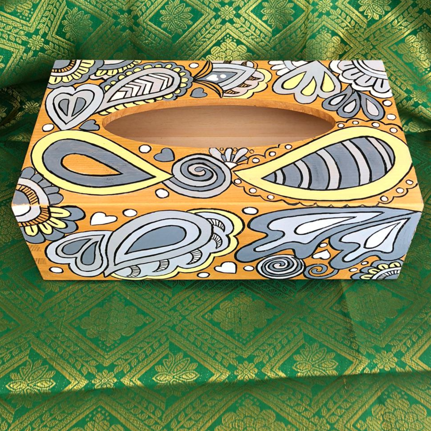 Yellow and Gray Tissue Box