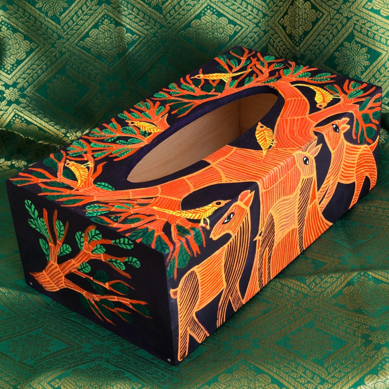 Blue Tissue Box - Gond art