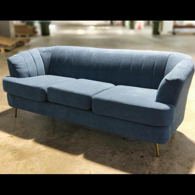 KOEN Designer 3 Seater Sofa in VELVET BLUE