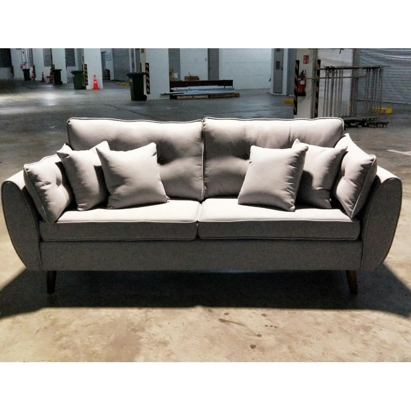 MOVICK Series Designer 3 Seater Sofa in GREY FABRIC