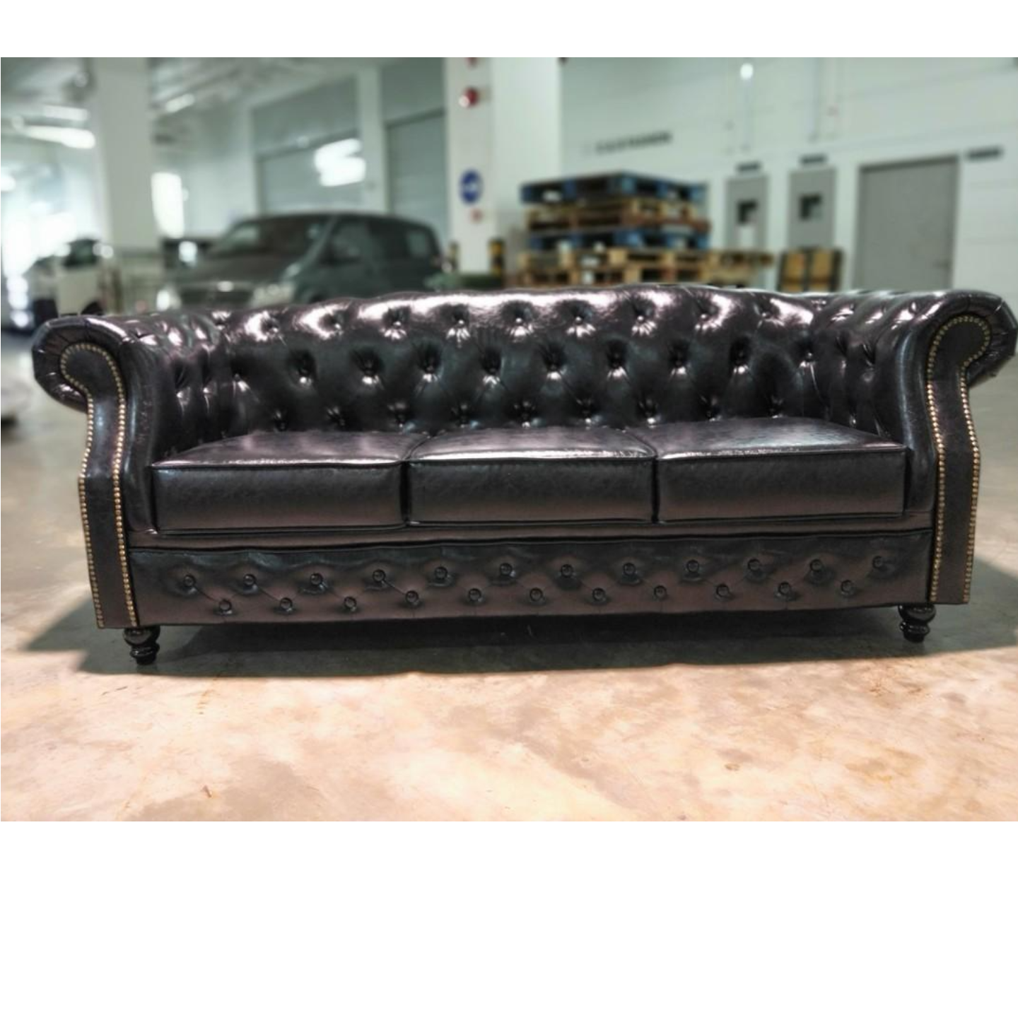 BOTTEVA Chesterfield 3 Seater Sofa in GLOSD BLACK PU