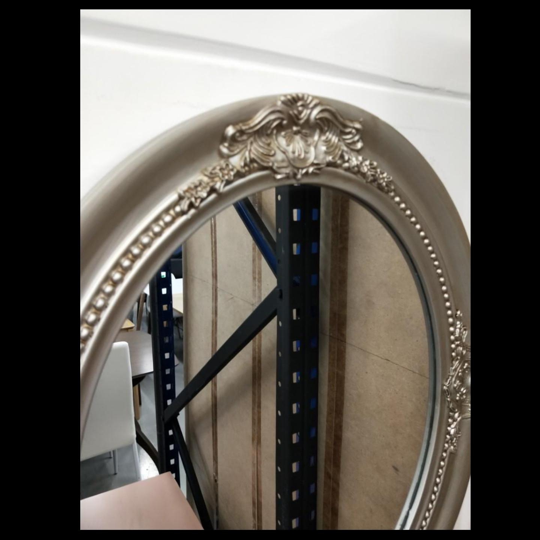 ELIZA OVAL Antique Silver Hanging Mirror