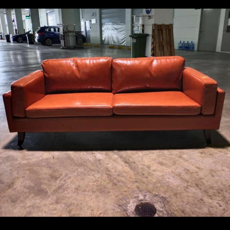 VENZENI 3 Seater Designer Sofa in GLOSS BROWN PU