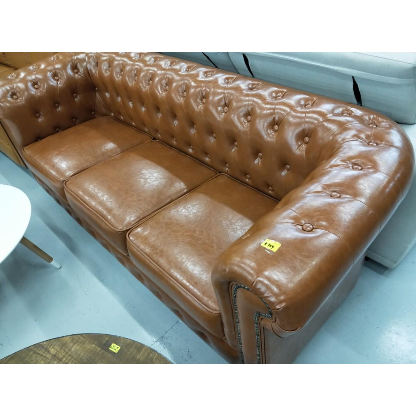 SALVADORE X 3 Seater Chesterfield Sofa in BROWN