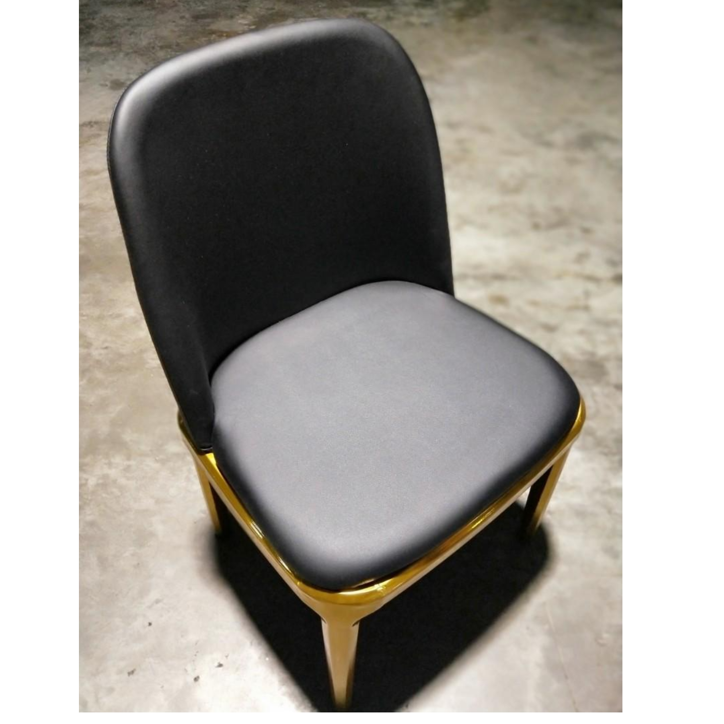 6 x CHADSTONE Black Modern PU Leather Dining Chair with GOLD FRAME