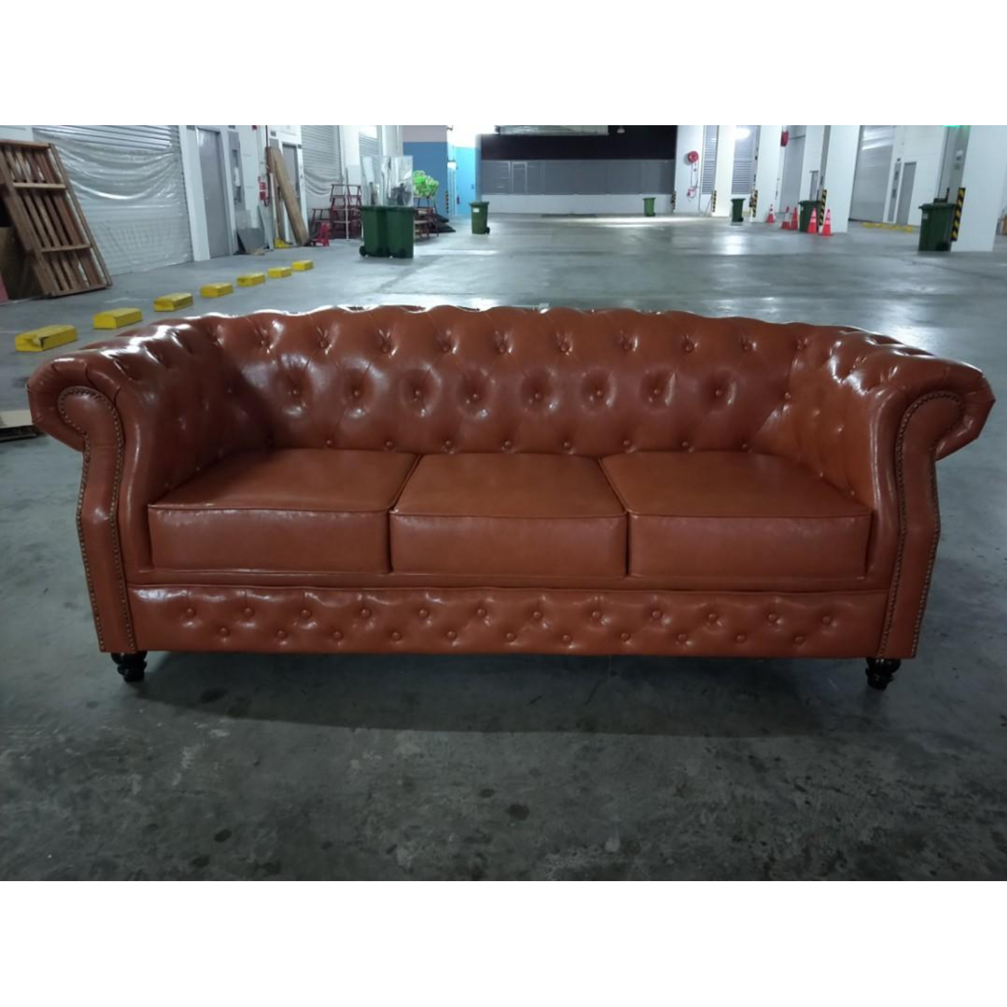 BOTTEVA Chesterfield 3 Seater Sofa in BROWN PU