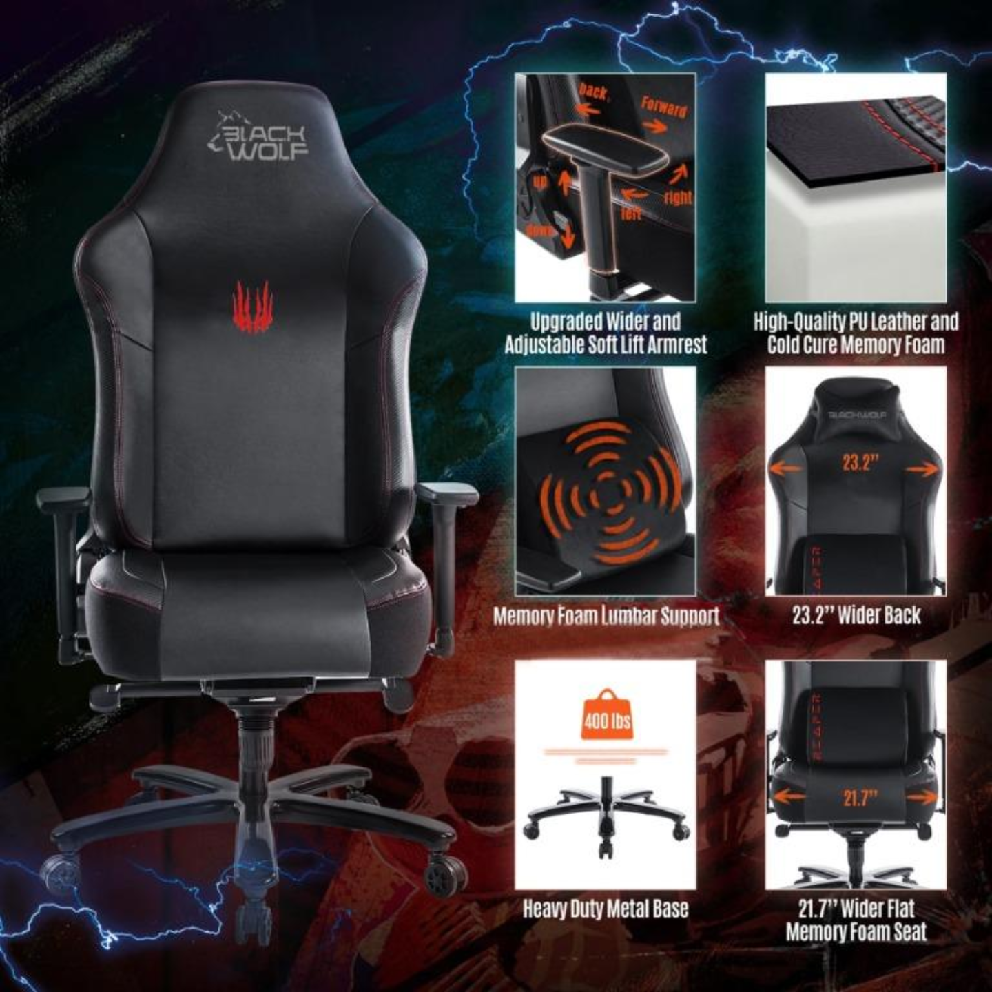 BLACKWOLF Reaper Series Ergonomic Gaming Chair