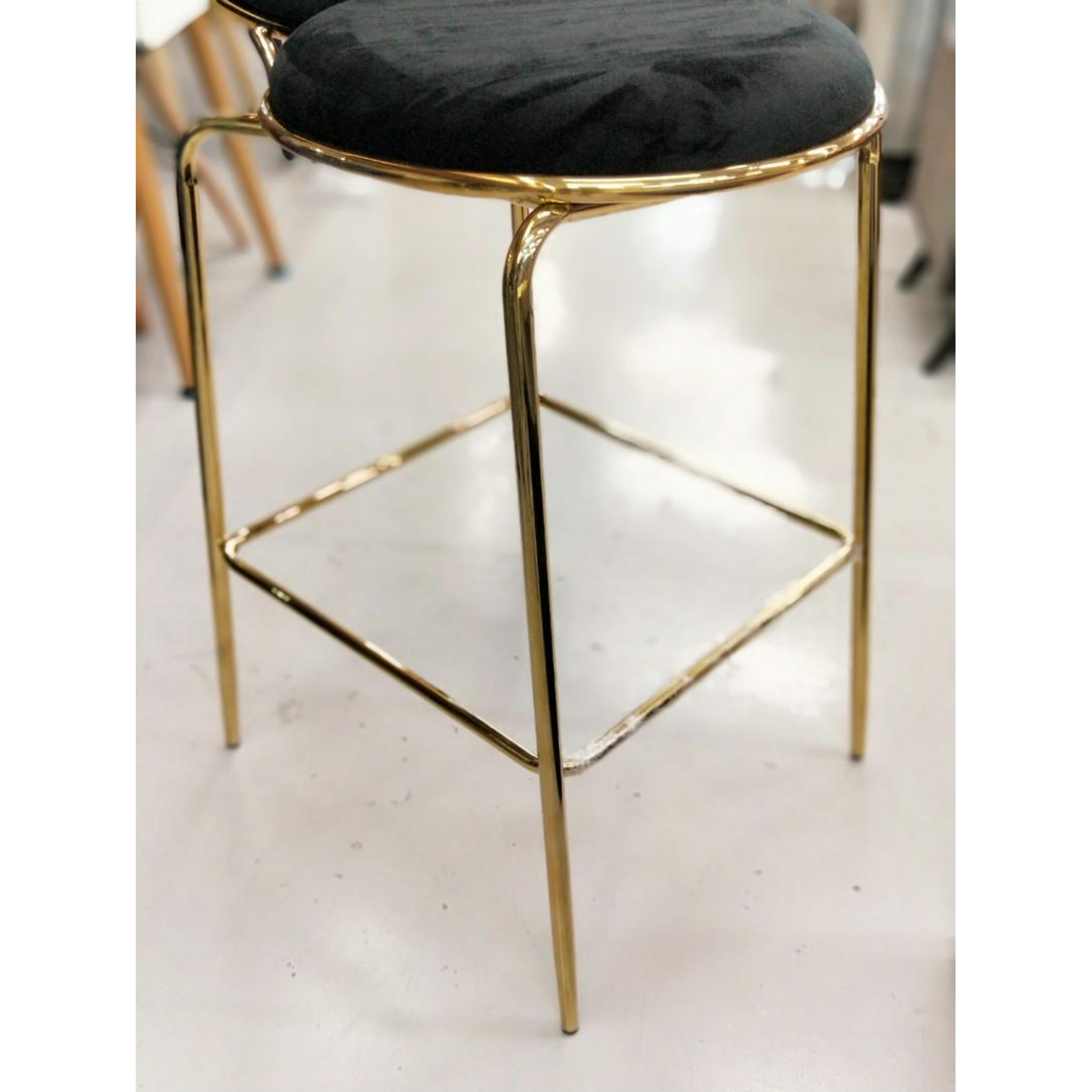 MARINDA High Bar Chair in VELVET BLACK with Gold Frame