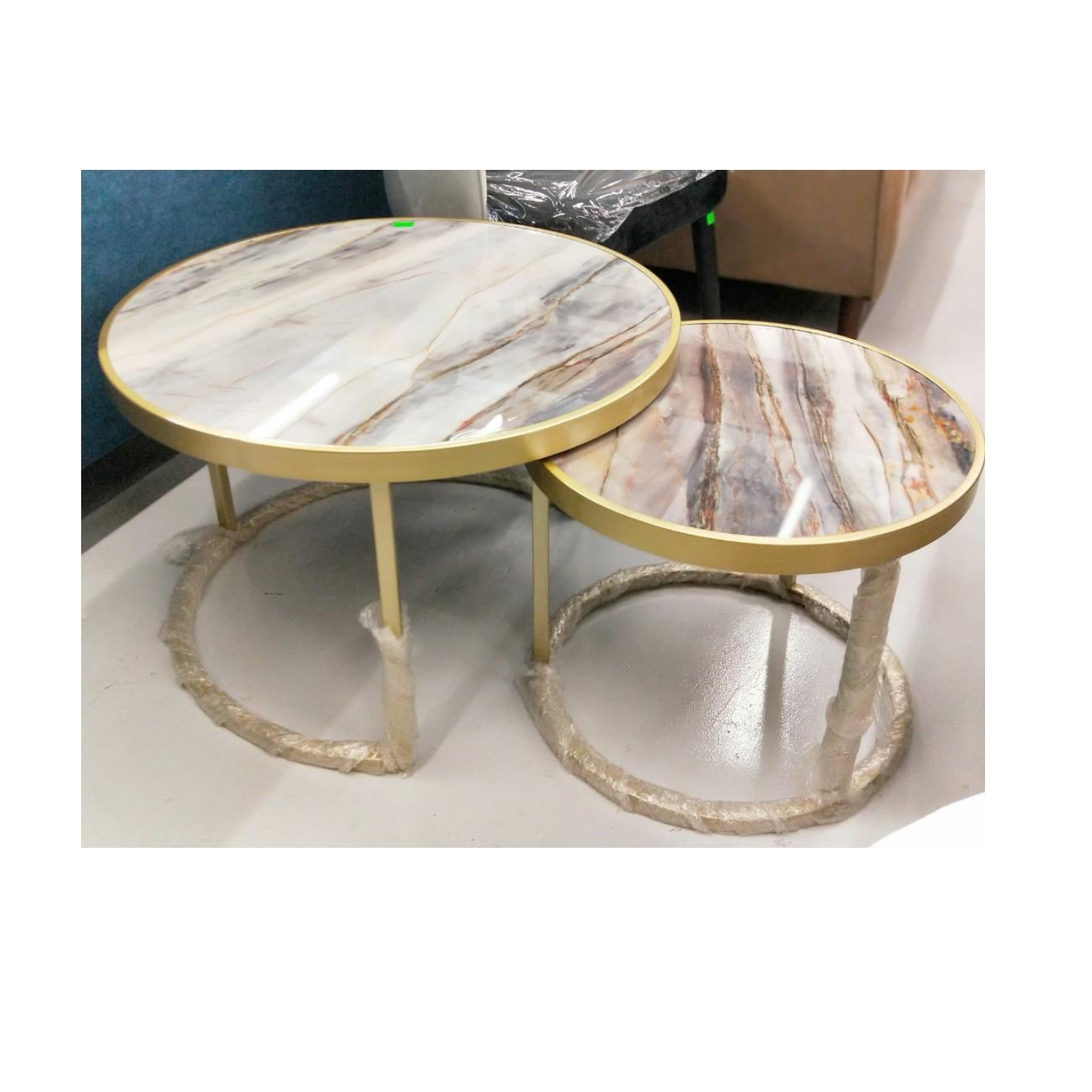 EMPIRA Marble Round Nesting Table Set (L)