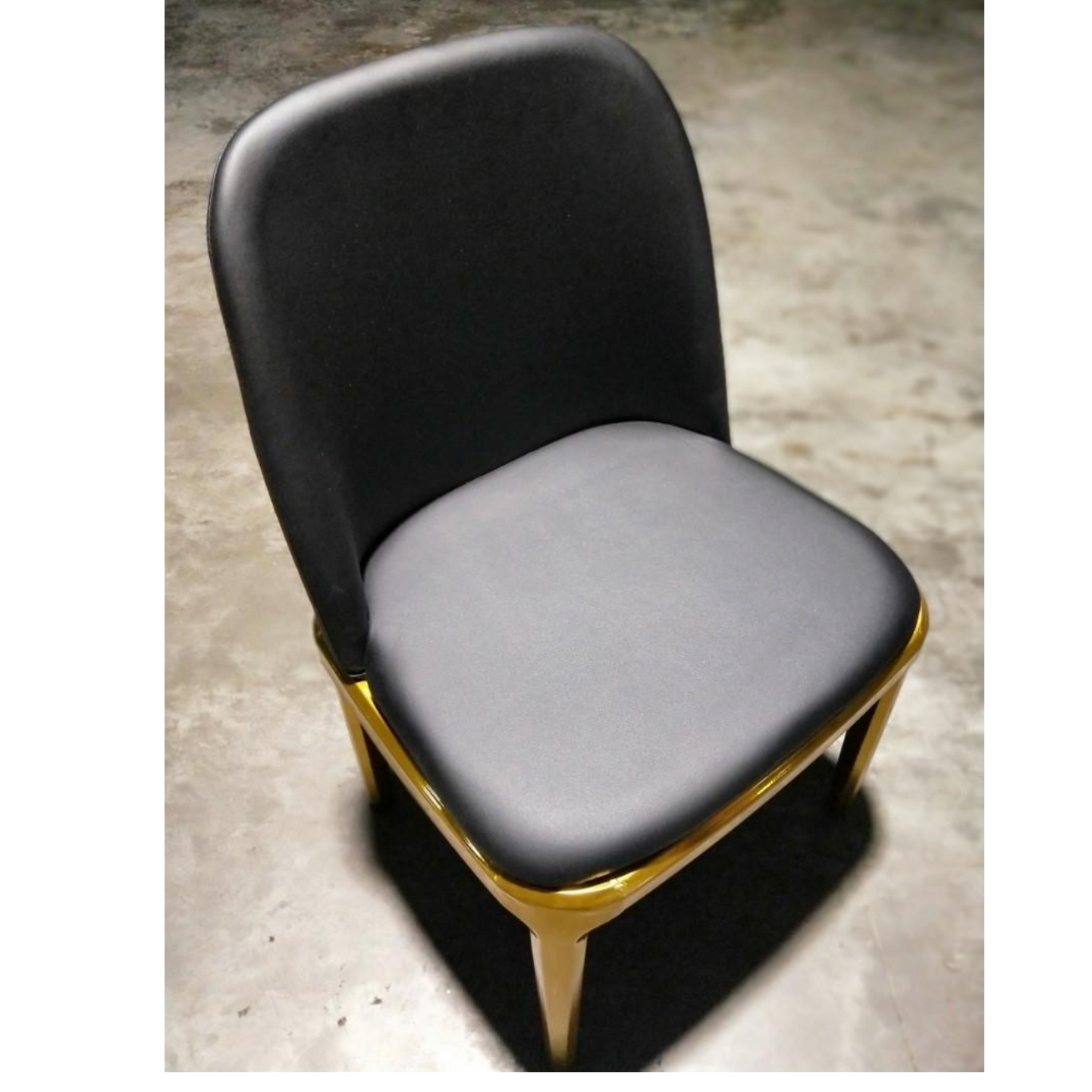 CHADSTONE Black Modern PU Leather Dining Chair with GOLD FRAME
