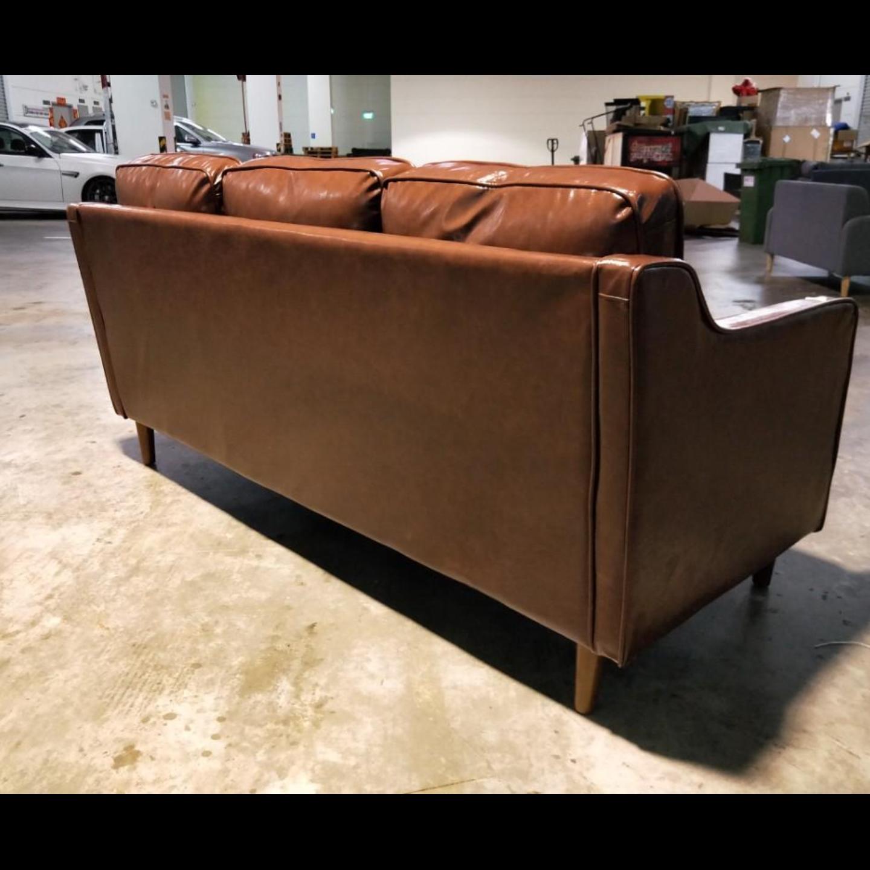 VALENTE 3 Seater Designer Sofa in DARK BROWN PU