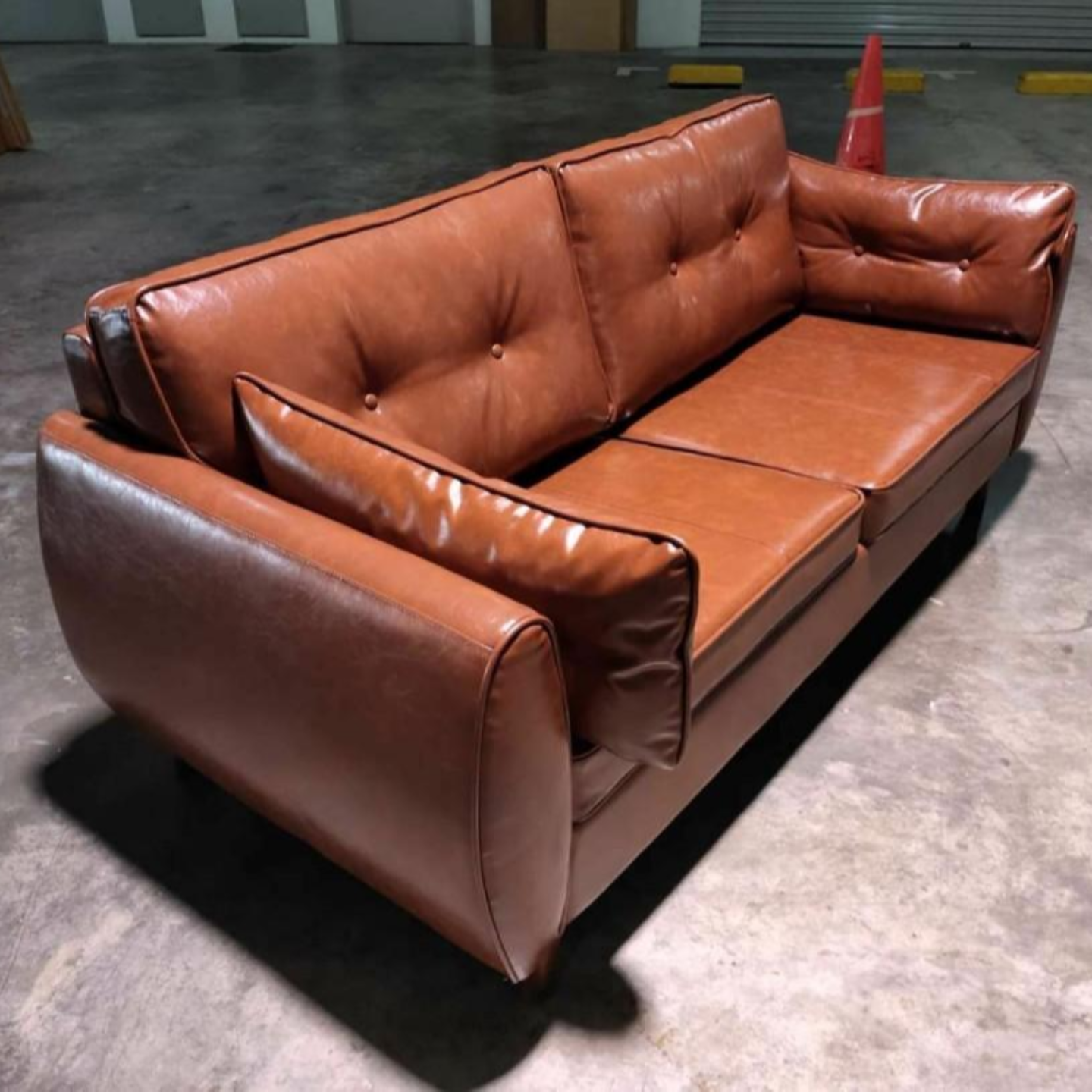 MOVICK Series Designer 3 Seater in GLOSS BROWN PU