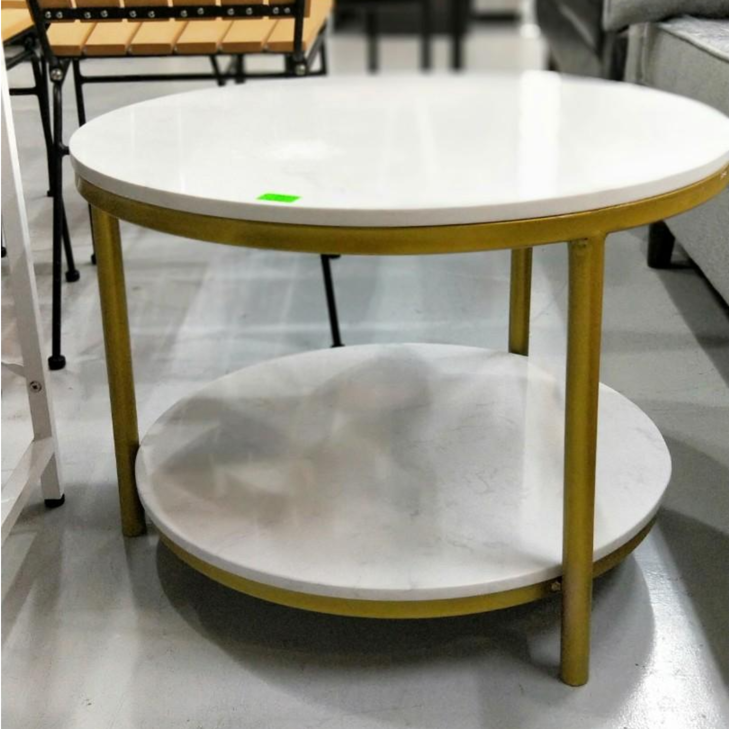 CHRISTINE Round Marble Coffee Table with Matt Gold Frame