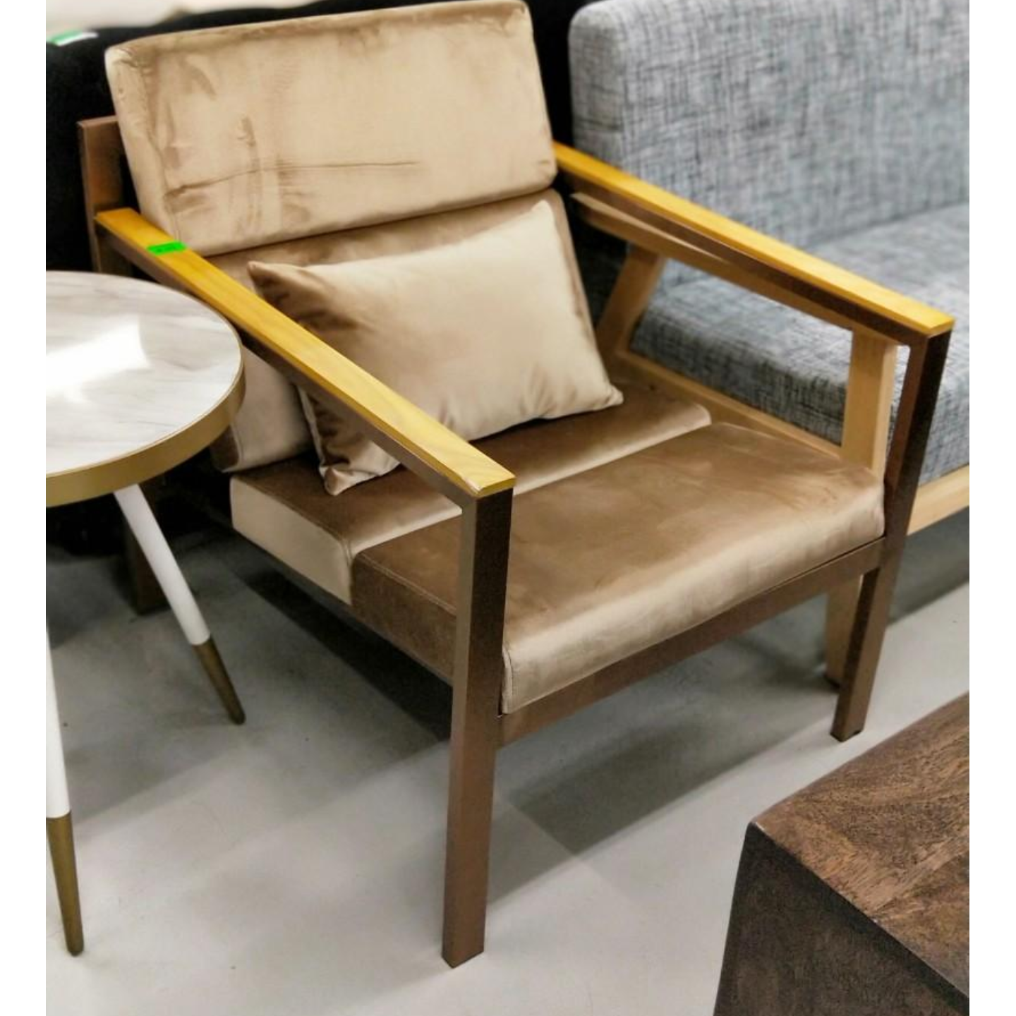 HYUNJU Armchair in Light Brown with TITANIUM GOLD FRAME
