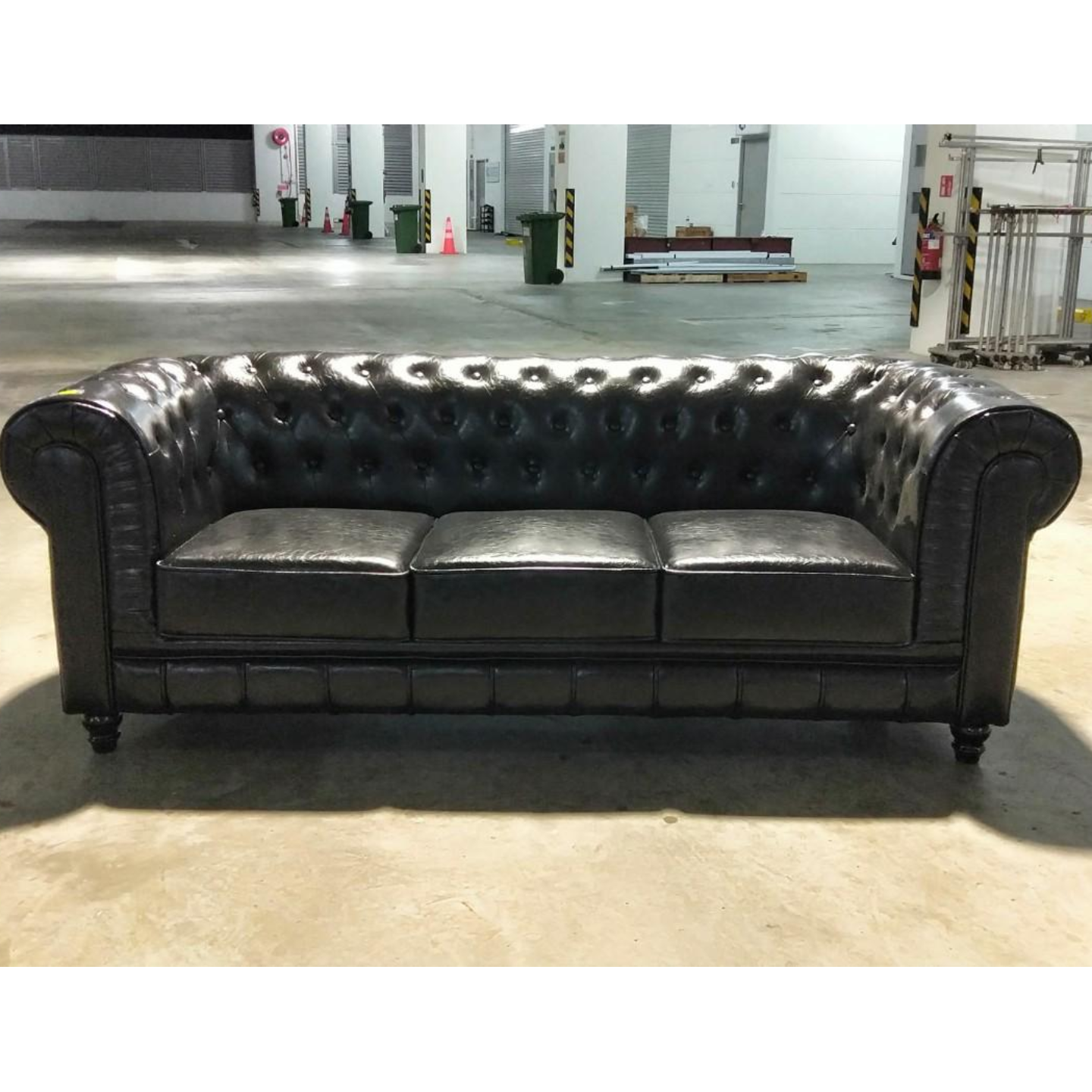 SALVADO II 3 Seater Sofa in GLOSS BLACK PU LEATHER