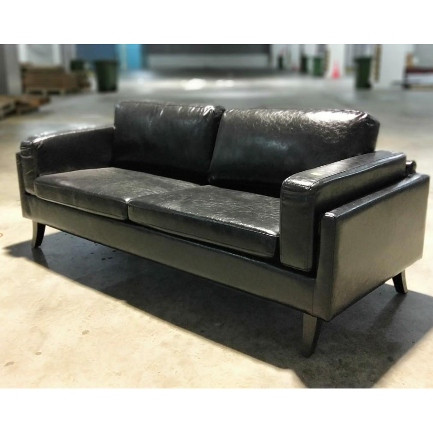 VENZENI 3 Seater Designer Sofa in GLOSS BLACK PU