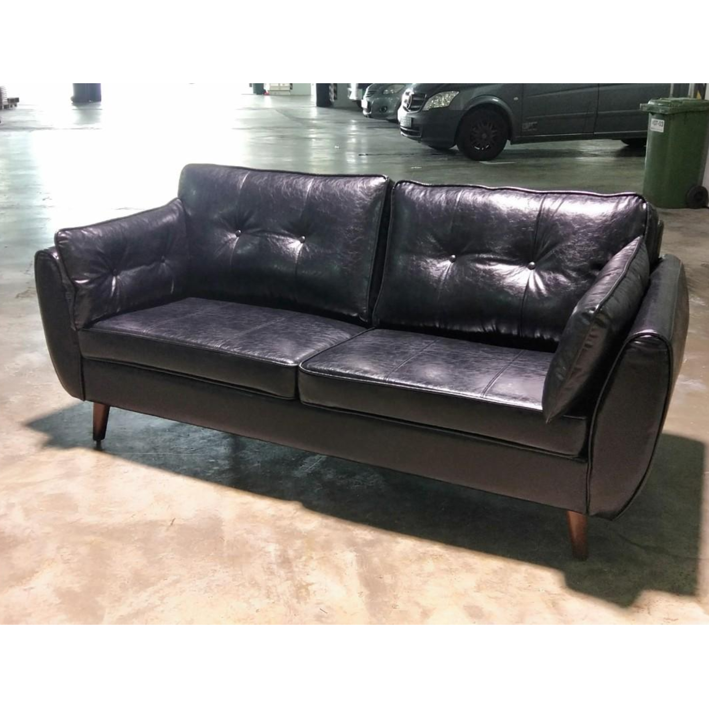MOVICK Series II Designer 3 Seater Sofa in GLOSS BLACK PU