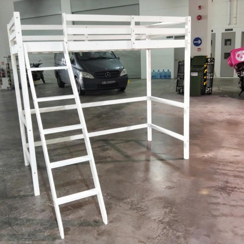 RUZENDA Loft Bed Frame in WHITE