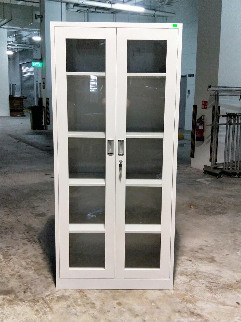 GEAR Metal Full Display Cabinet in Light Grey