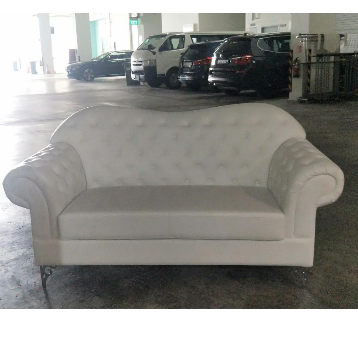 HAMPTON 2 Seater Classical Sofa in WHITE PU