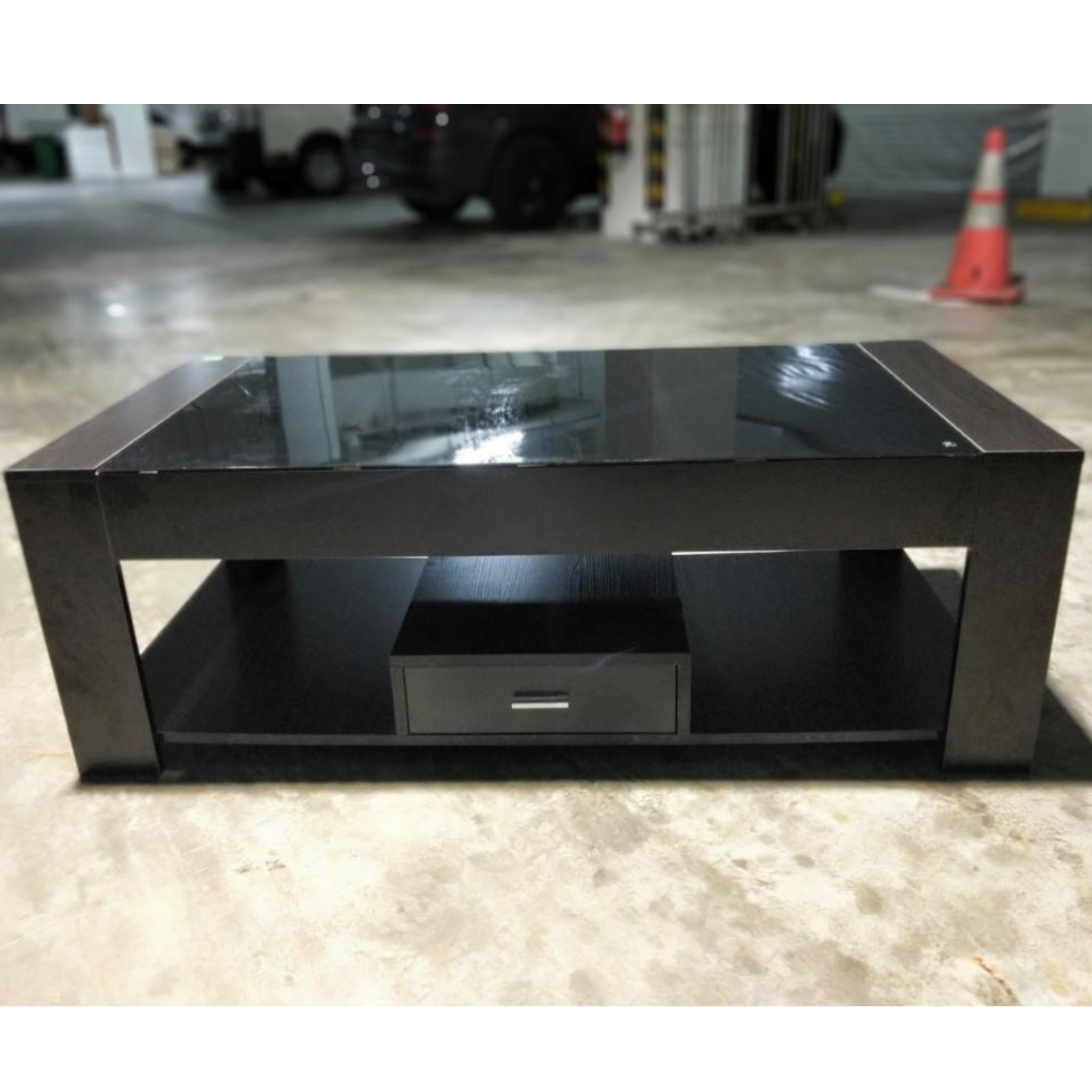 TEVEL Large Tempered Glass Coffee Table in DARK WALNUT
