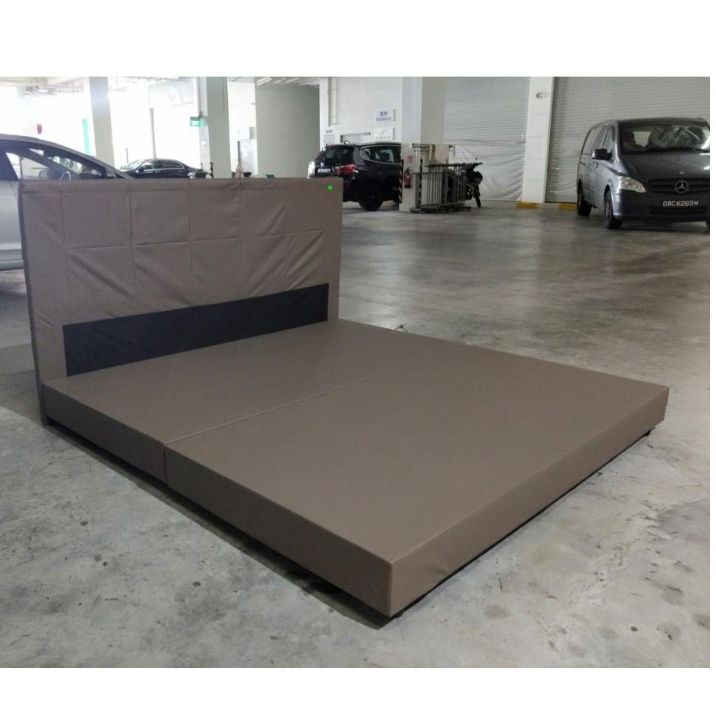 KRONOS Faux Leather King Bed Frame in DARK BEIGE Contact Se