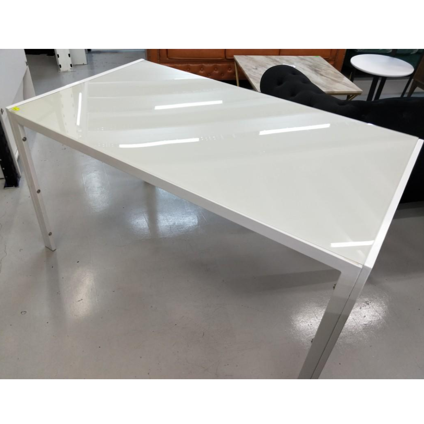 SHONA White Tempered Glass Dining Table