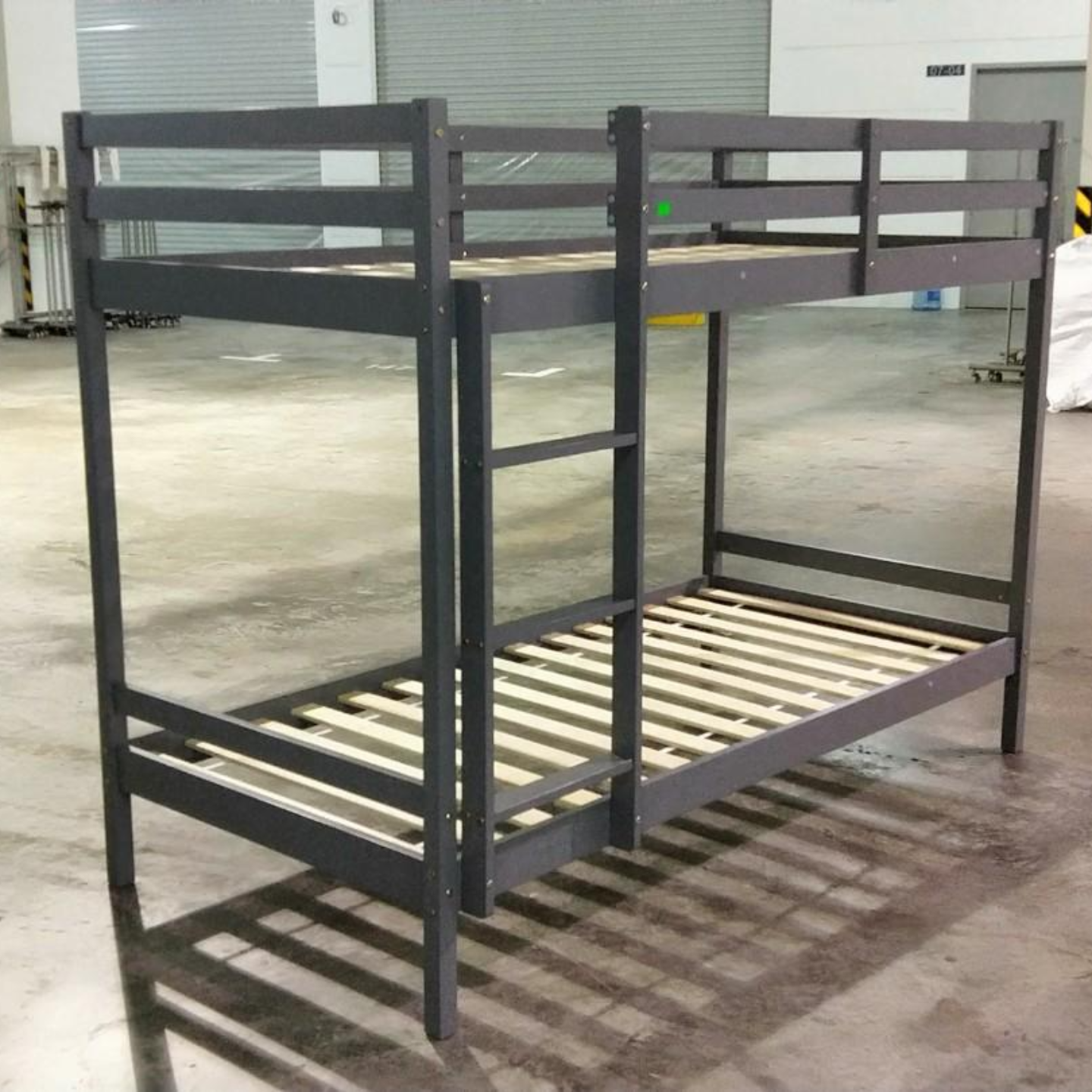 RUZENDA SINGLE Double Deck Bunk Wooden Bed in GREY