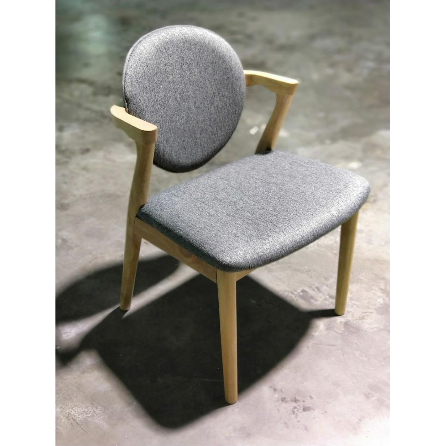KEGAR Dining Chair in Natural Color & Grey Cushion