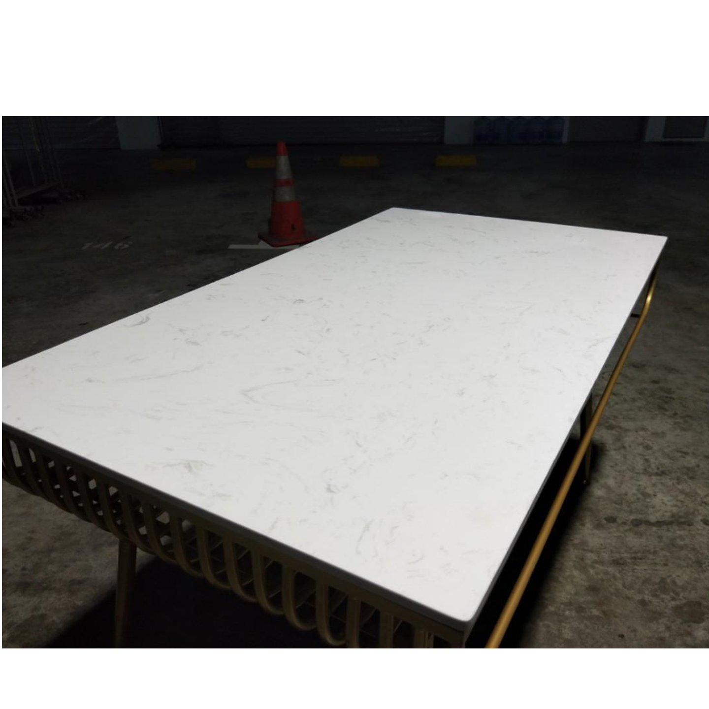 VAIRE Modern Marble Dining Table with Gold Frame