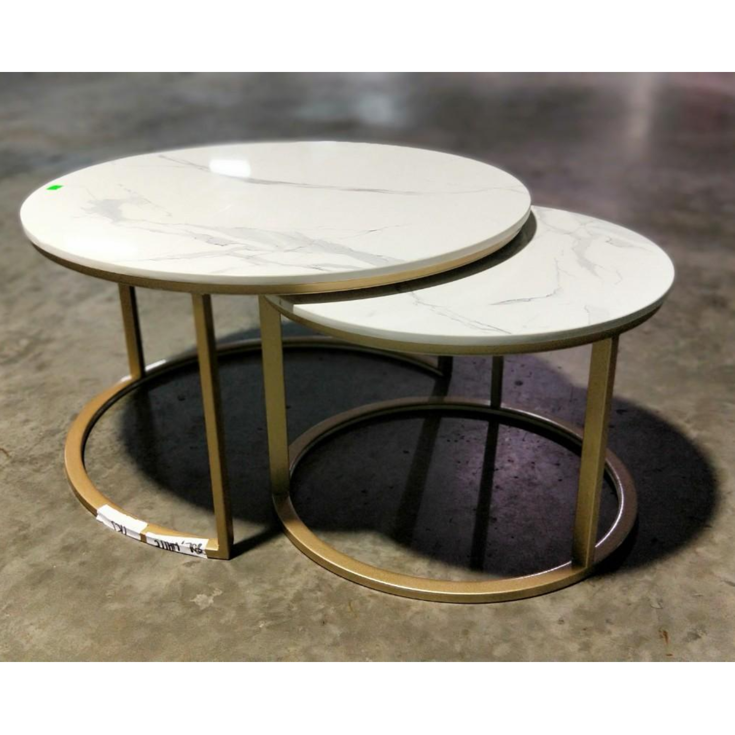 JAIZE Modern Marble Round Nesting Table Set