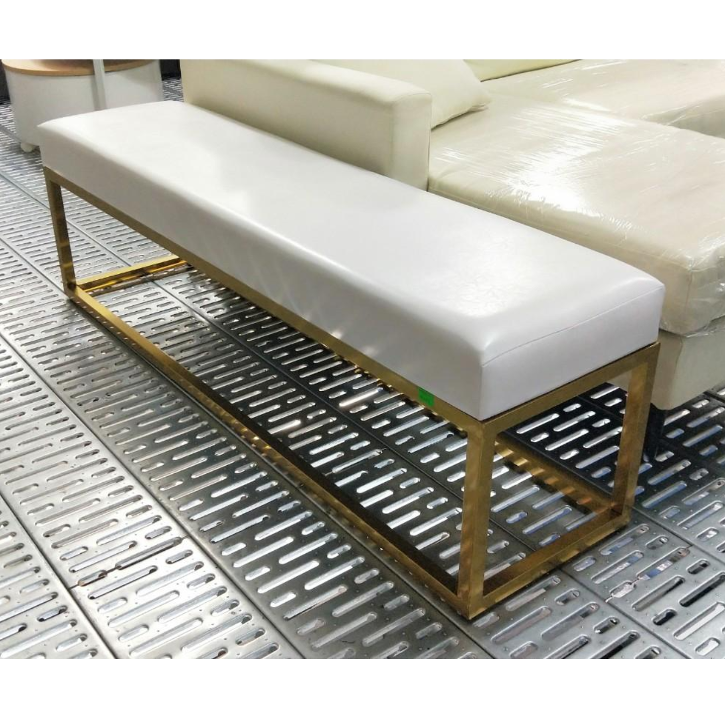 BURKMAN Victorian White PU Bench with Gold Frame