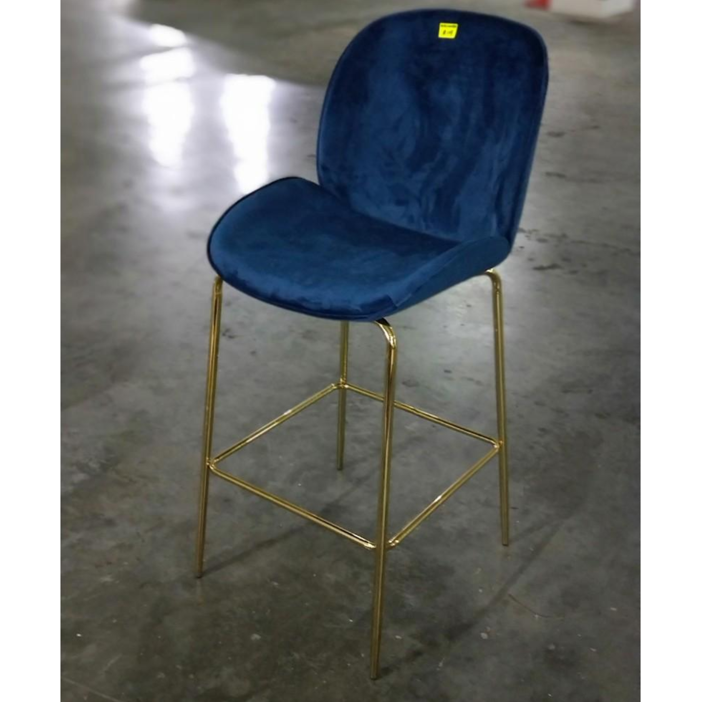 VOLKZ Bar Stool with GOLD FRAME in NITROUS BLUE