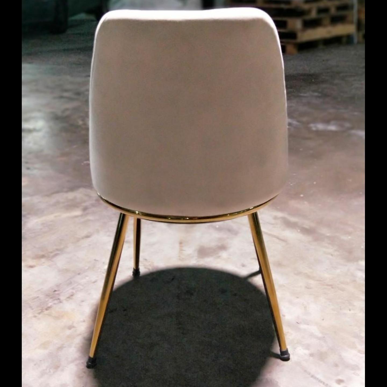 EVIA Modern Dining Chair in BEIGE Velvet with Gold Frame