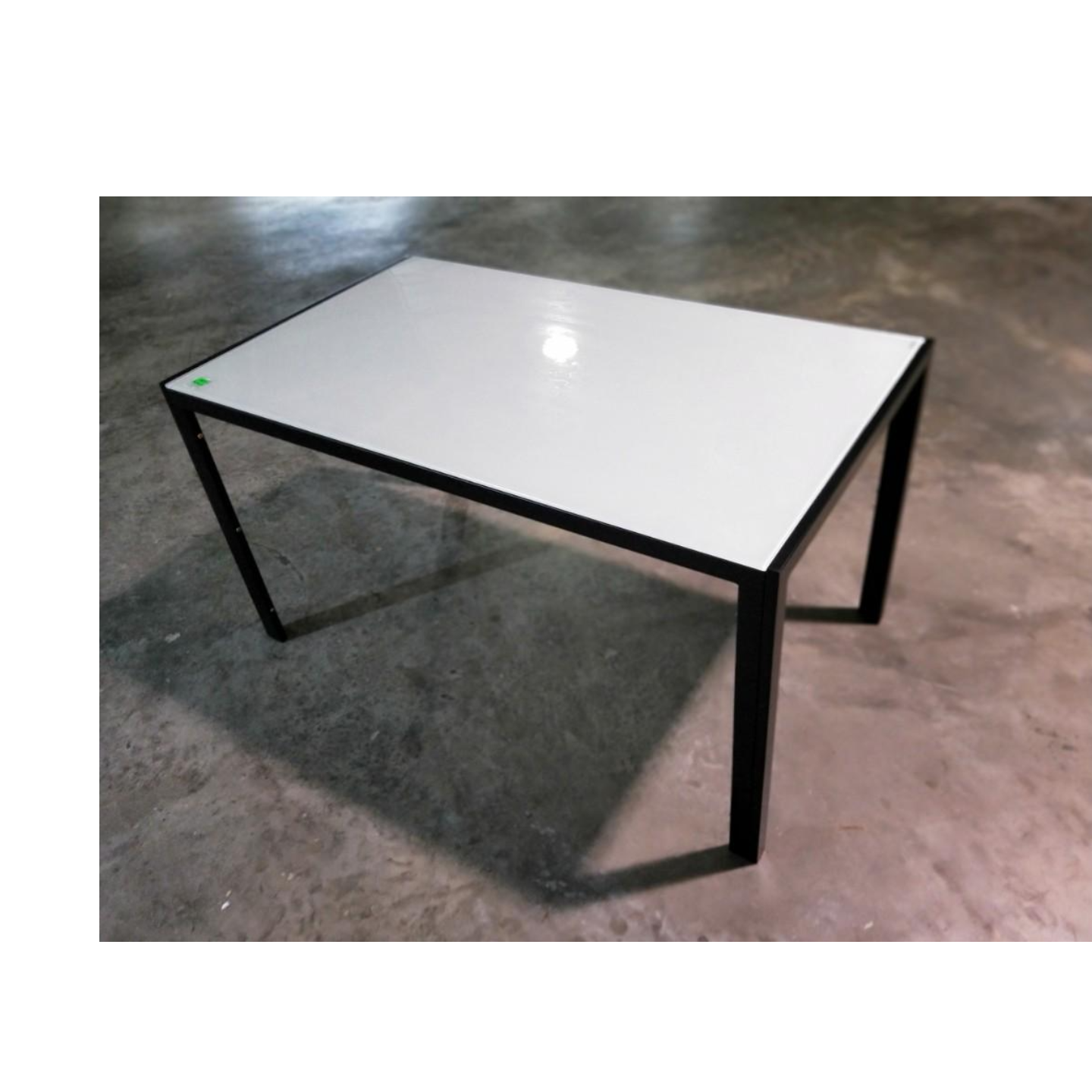 SHONA II Black Frame with White Tempered Glass Dining Table