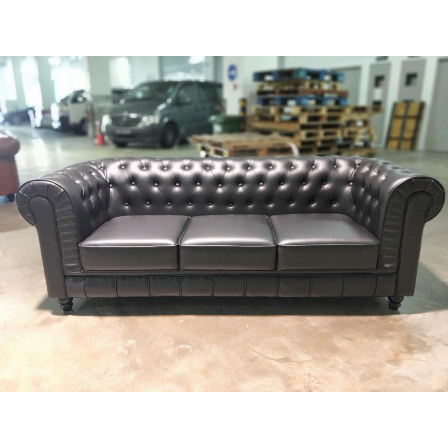 SALVADO II 3 Seater Chesterfield Sofa in MATTE BLACK PU Leather
