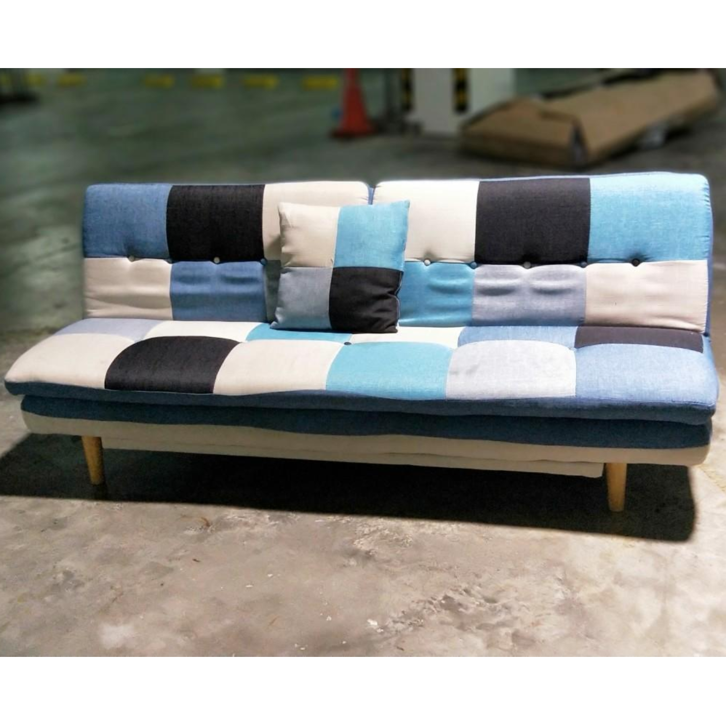 ANNABELLE Patchwork Sofa Bed in BLUE MIX