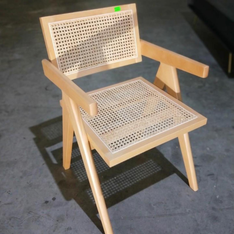 KAELIN Vintage Solid Wood Rattan Armchair