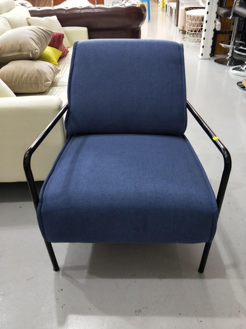 KANE Armchair in BLUE with BLACK IRON FRAME